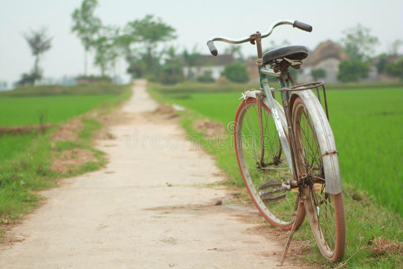 在稻田的路的老自行车停车处在越南的北部的 免版税图库摄影