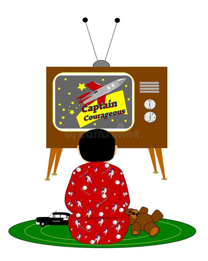 在1955年男孩观看的早晨动画片 向量例证