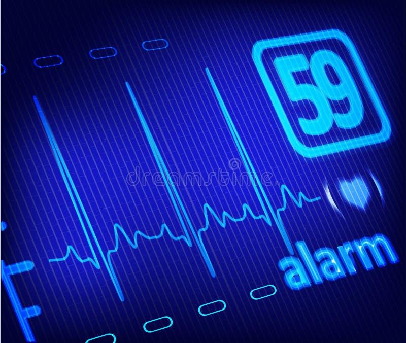 在医疗显示器的ECG警报 皇族释放例证