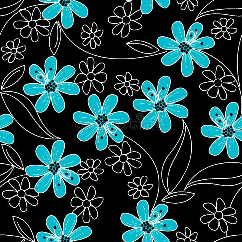 在黑白刺绣的浅兰的花在无缝的p 向量例证