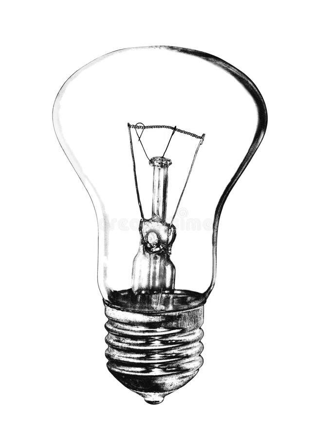 在黑白口气的电灯泡 皇族释放例证