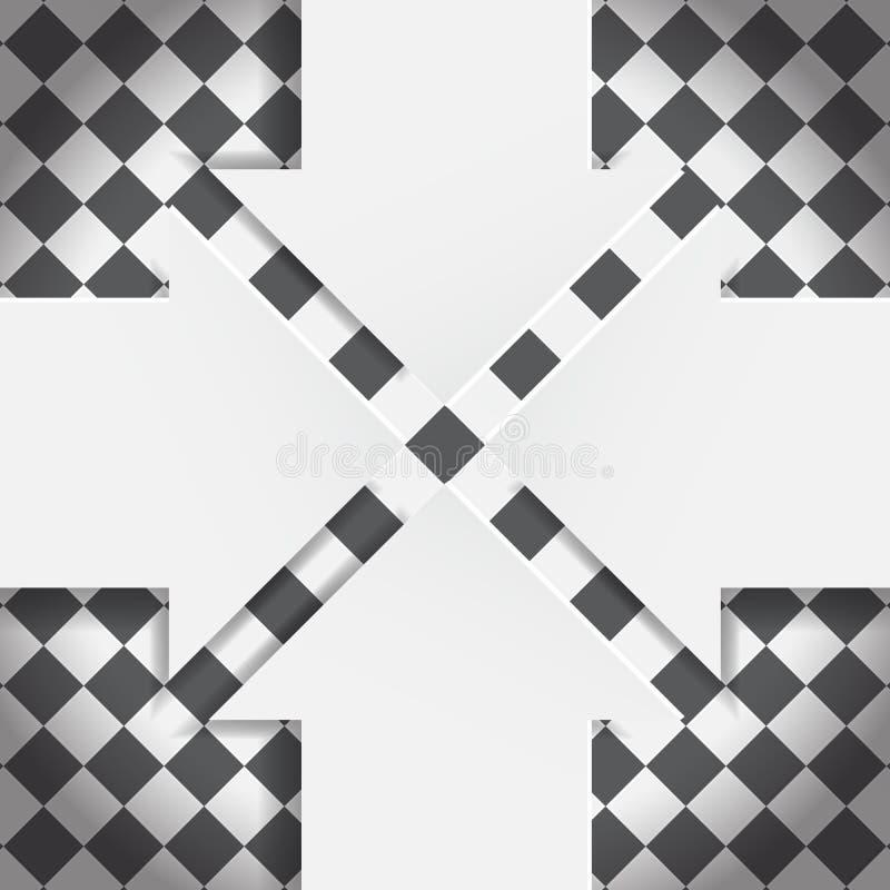 在黑白棋盘的抽象箭头 向量例证