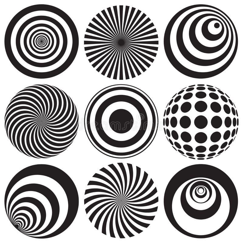 在黑白的光学艺术 库存例证