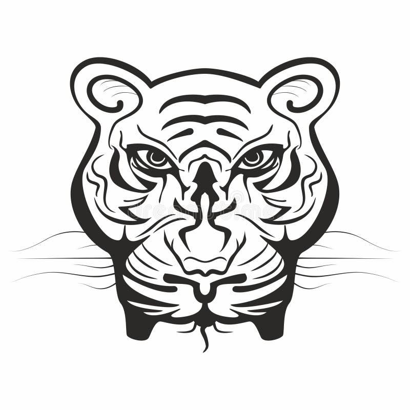 在黑白的强大老虎面孔 向量例证