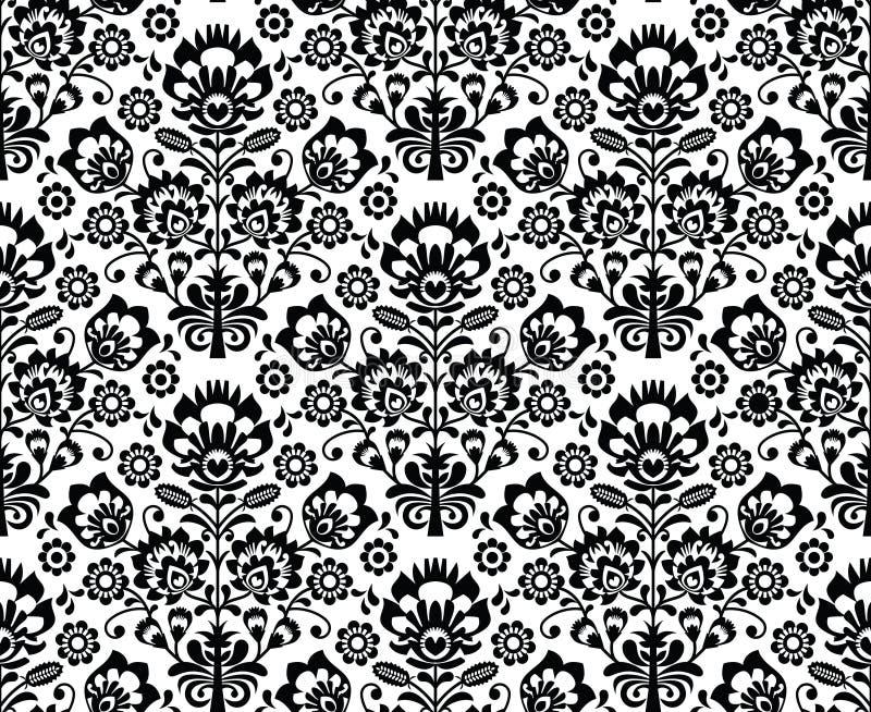 在黑白的无缝的花卉波兰样式 库存例证