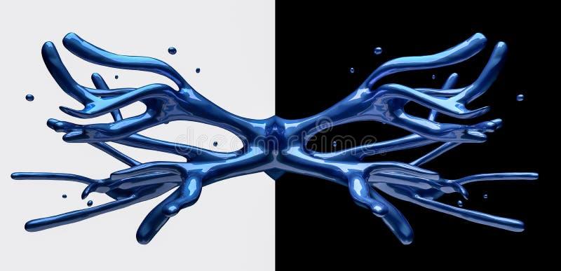 在黑白背景反映的蓝色汽车油漆飞溅 免版税库存图片
