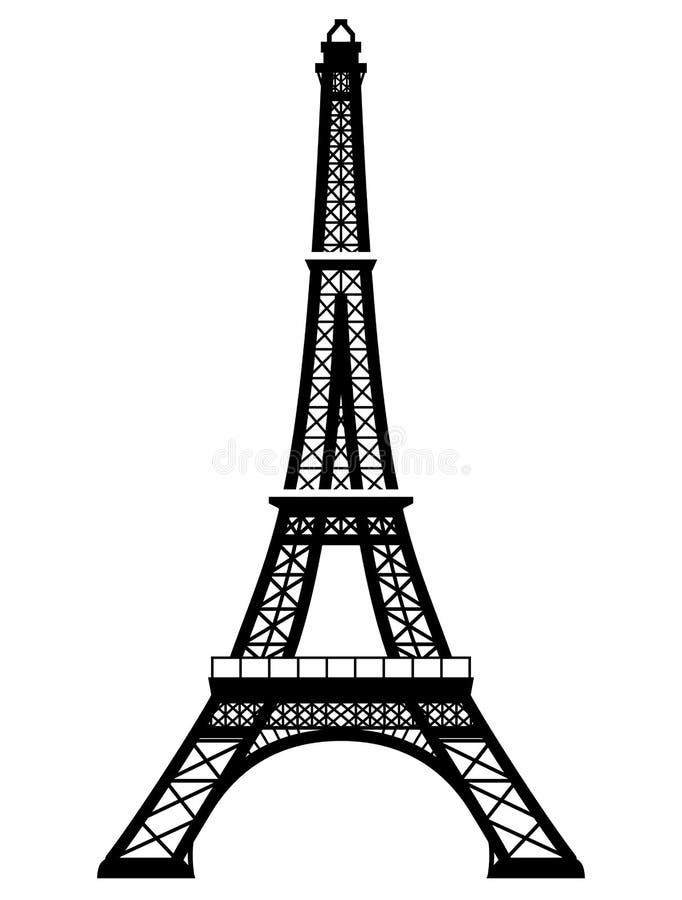 在黑白颜色的法语艾菲尔铁塔
