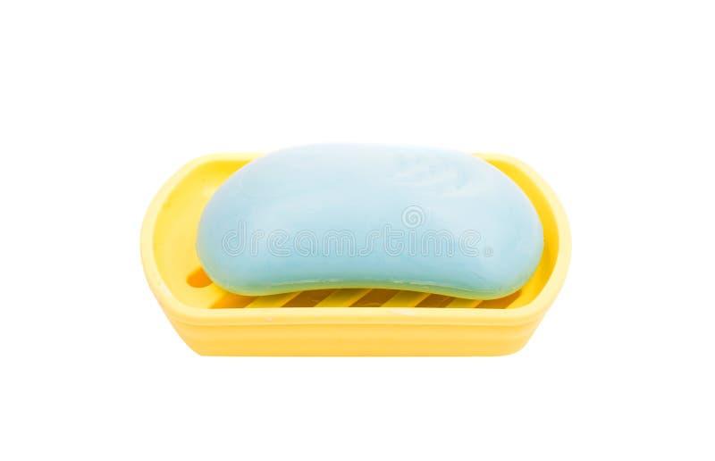 在浴皂盒的肥皂 库存图片