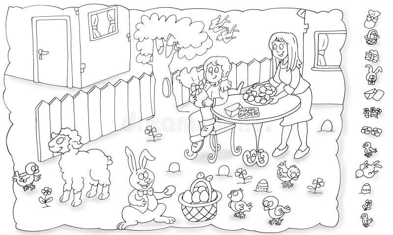 在他的伯母` s房子的Â复活节党孩子的围场脊椎着色的 库存例证