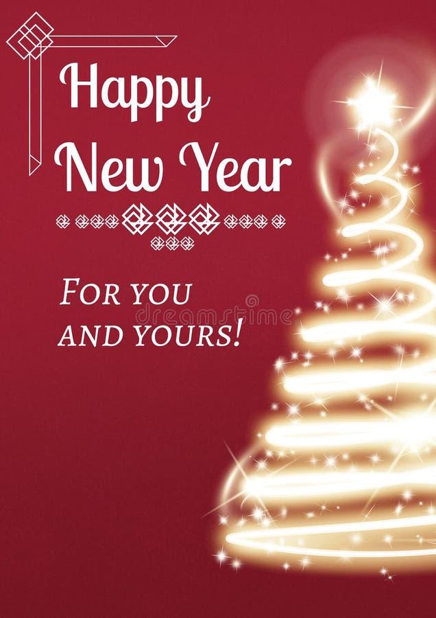 在轻的圣诞树背景设计的新年贺词 向量例证
