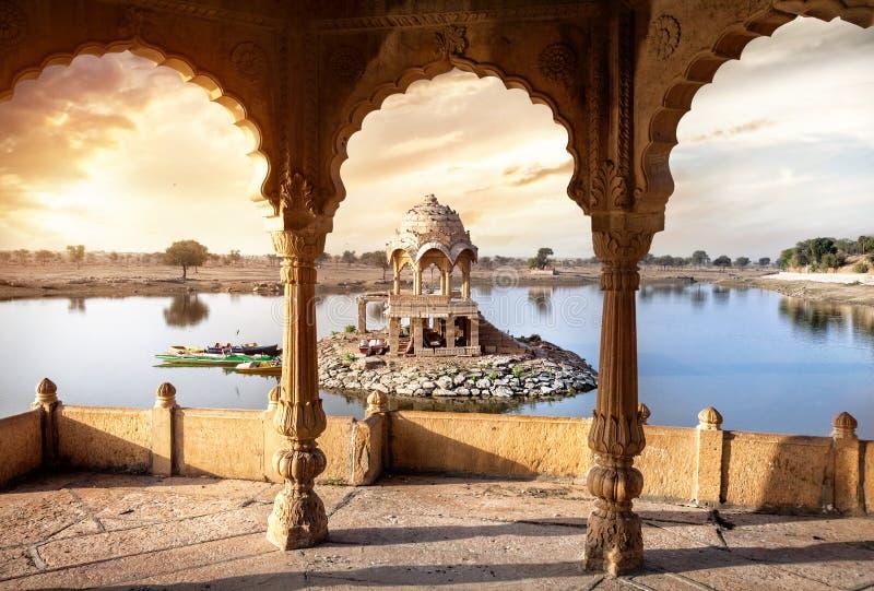 在水的寺庙在印度 免版税库存图片