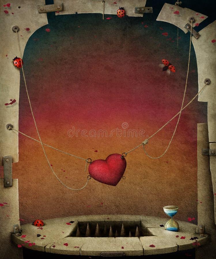 在绳索的心脏 皇族释放例证