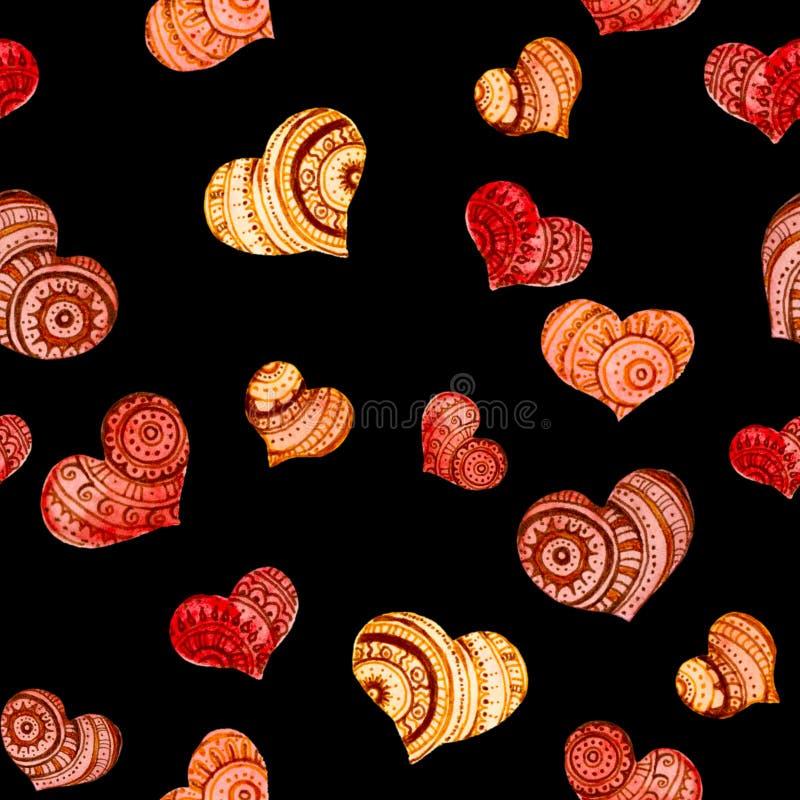 在黑的无缝的样式的装饰心脏 库存例证