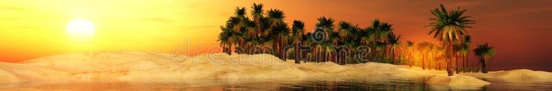 在绿洲的日落 库存图片
