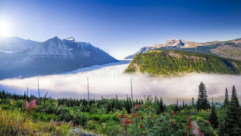 在去的有雾的谷太阳路 图库摄影