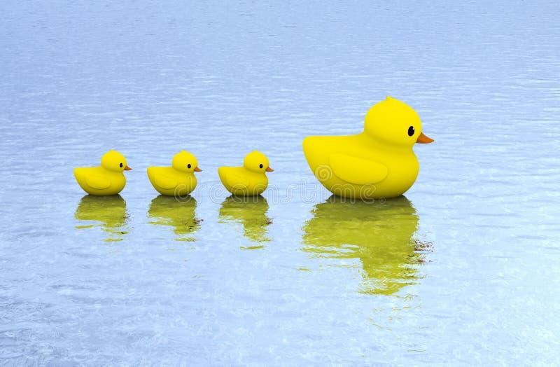 在水的橡胶鸭子家庭 向量例证