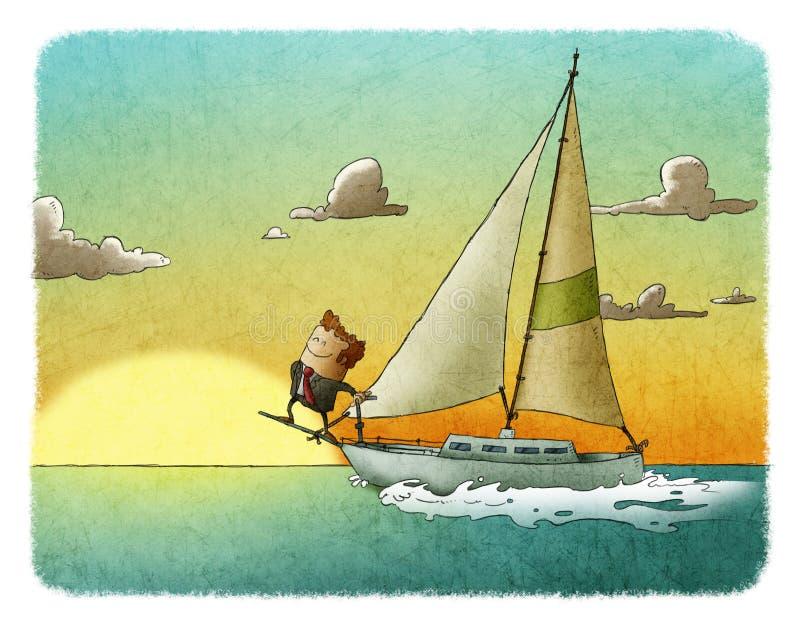 在他的游艇的愉快的商人航行 皇族释放例证