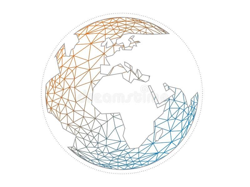 在轻的白色背景隔绝的五颜六色的几何抽象地球地球球形向量图形模板概念例证 库存例证