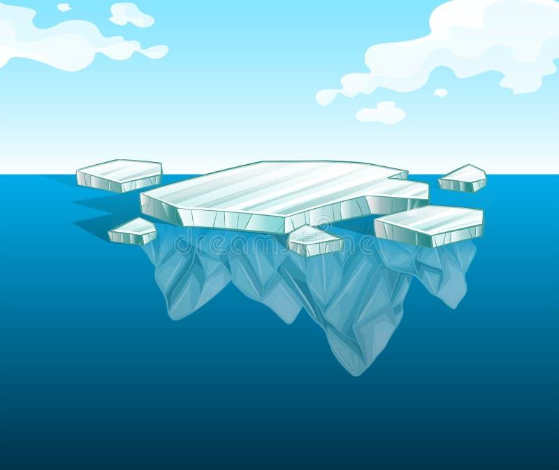 在水的稀薄的冰山 向量例证