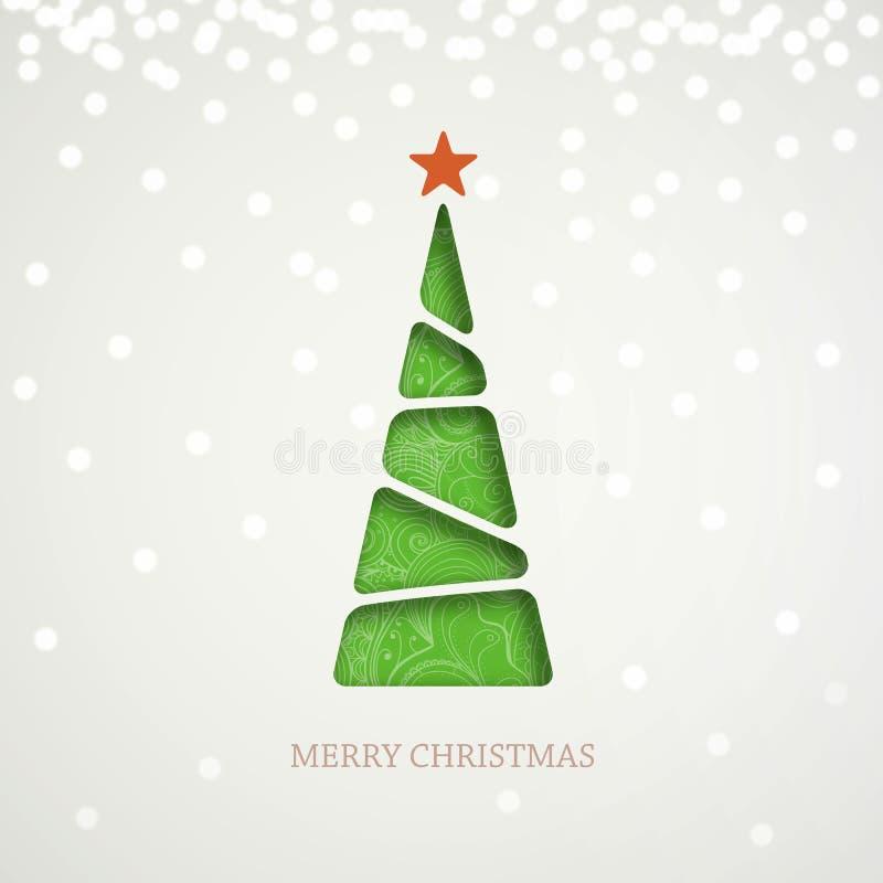 在轻的背景的纸绿色圣诞树与闪闪发光、亮光和阴影 库存例证