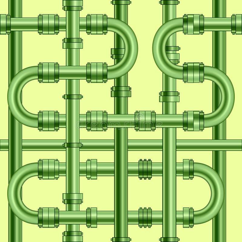 在轻的背景的绿色金属管子 模式无缝的向量 向量例证