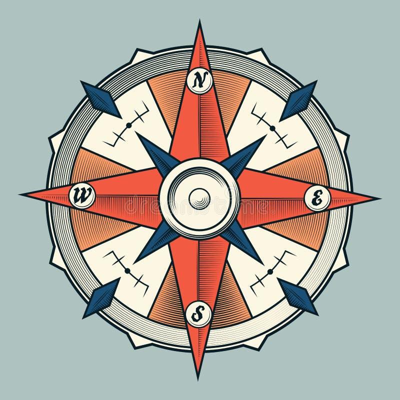 在轻的背景隔绝的葡萄酒五颜六色的图表指南针。 皇族释放例证
