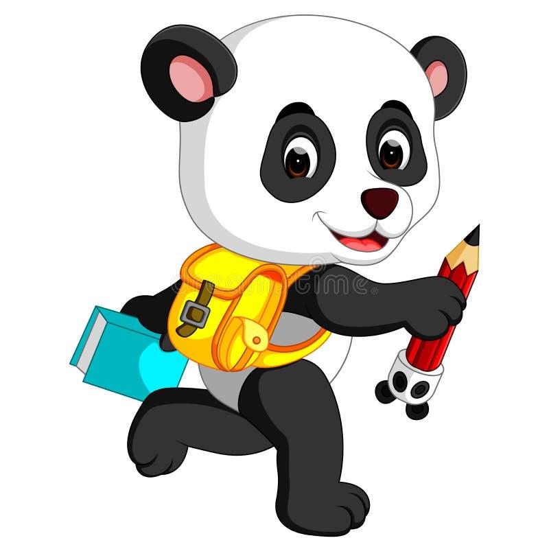 在他的途中的逗人喜爱的熊猫对学校 库存例证