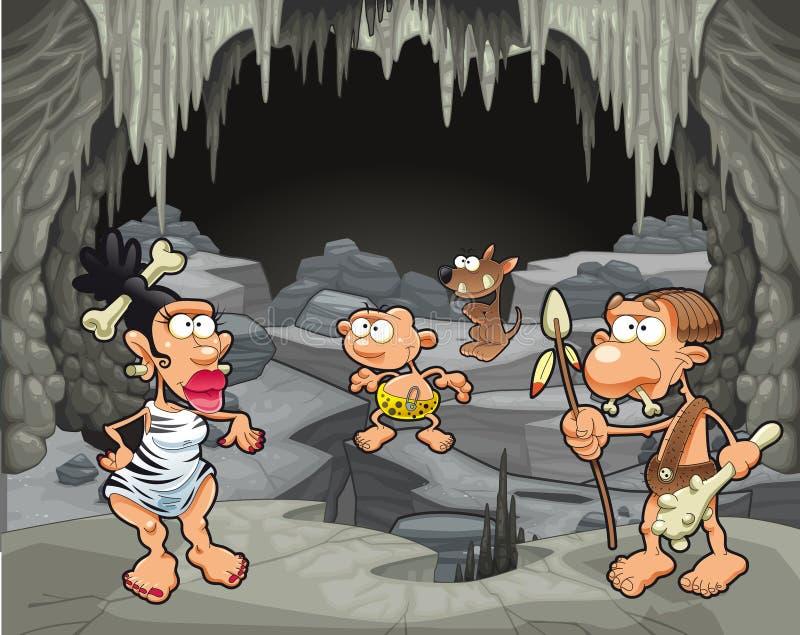 在洞穴的滑稽的史前家庭。 皇族释放例证