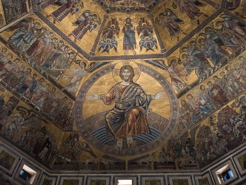 在洗礼池的天花板马赛克在佛罗伦萨 免版税库存照片