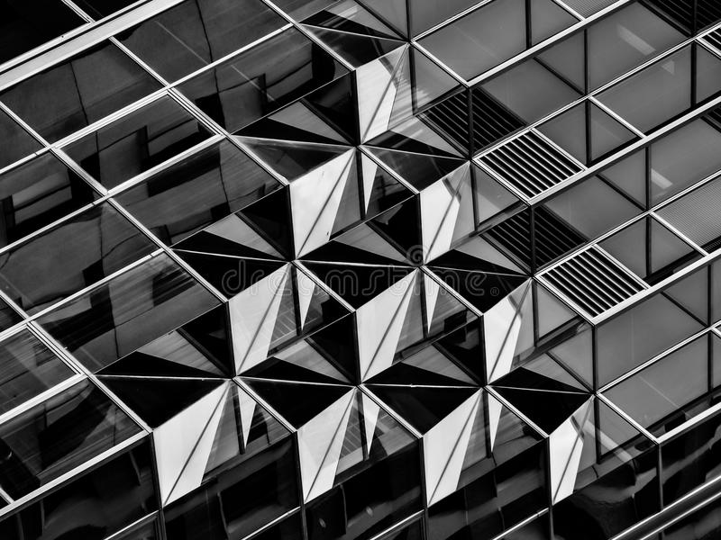 在建筑学在黑白,细节的几何 免版税图库摄影