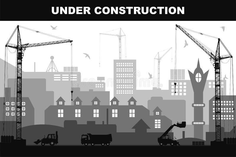 在建筑工地的`建设中`概念在有建筑机器详细的剪影的城市  向量例证