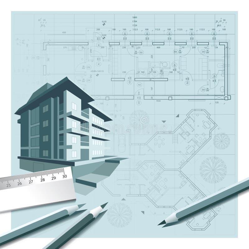在建筑师图纸顶部的议院 库存例证