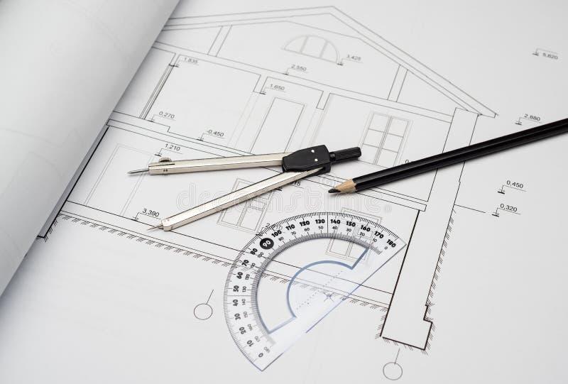 在建筑项目房子的分切器 免版税库存图片
