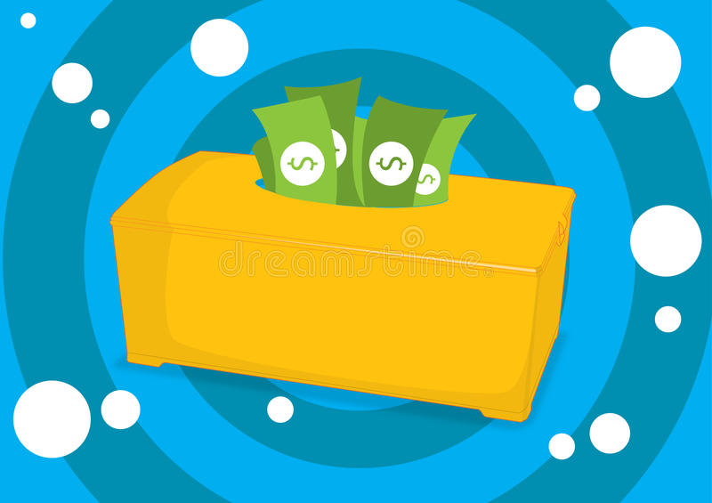 在组织箱子的金钱 皇族释放例证