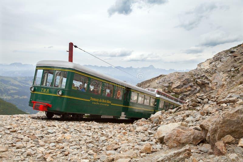 在2386米的最后驻地勃朗峰电车轨道Nid d'Aigle 免版税库存图片
