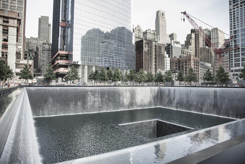 在9/11纪念品的反射水池 库存图片