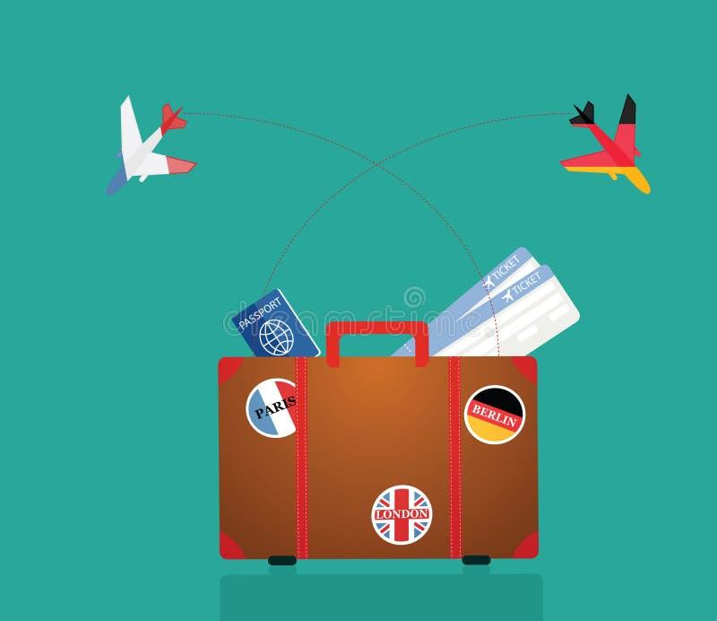 在贴纸手提箱旅行向量白色的8 eps例证 向量 库存例证
