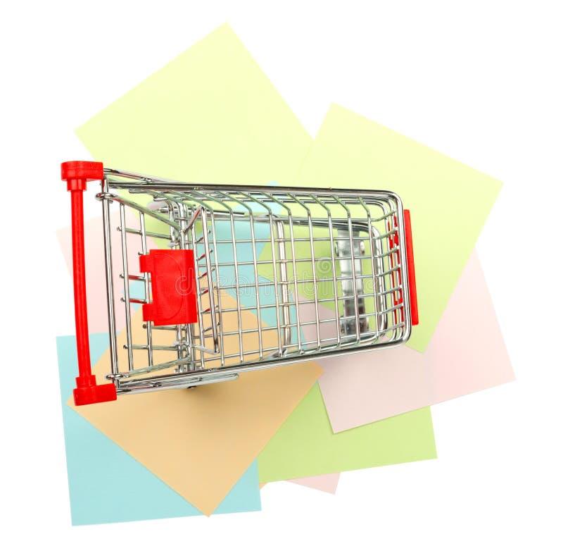 在贴纸的购物车 免版税库存图片