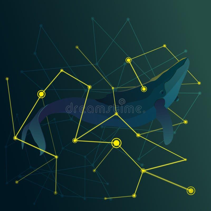 在黄线传染媒介之间的抽象鲸鱼 免版税图库摄影