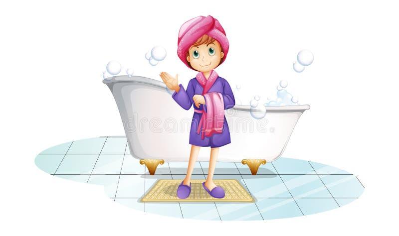 在浴缸附近的一名妇女 库存例证