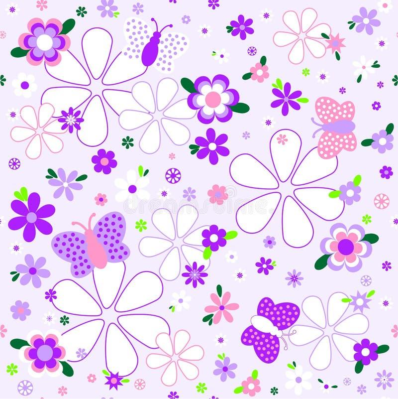 在紫罗兰色口气的无缝的花卉样式 皇族释放例证