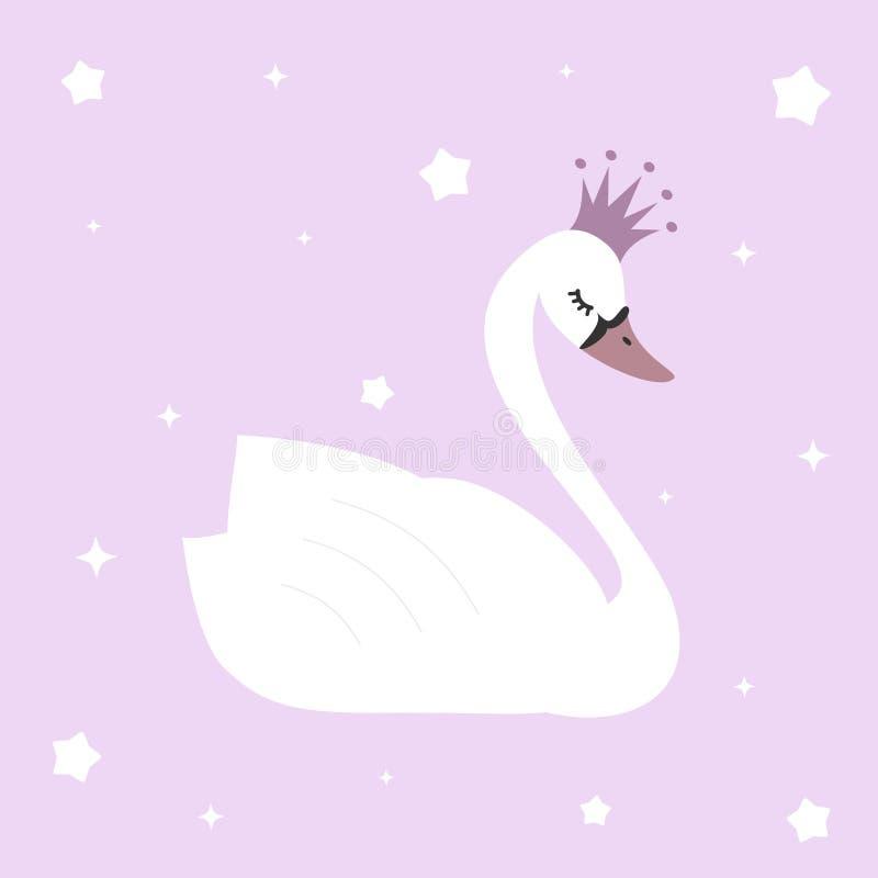 在紫罗兰色背景例证的逗人喜爱的可爱的公主天鹅 皇族释放例证