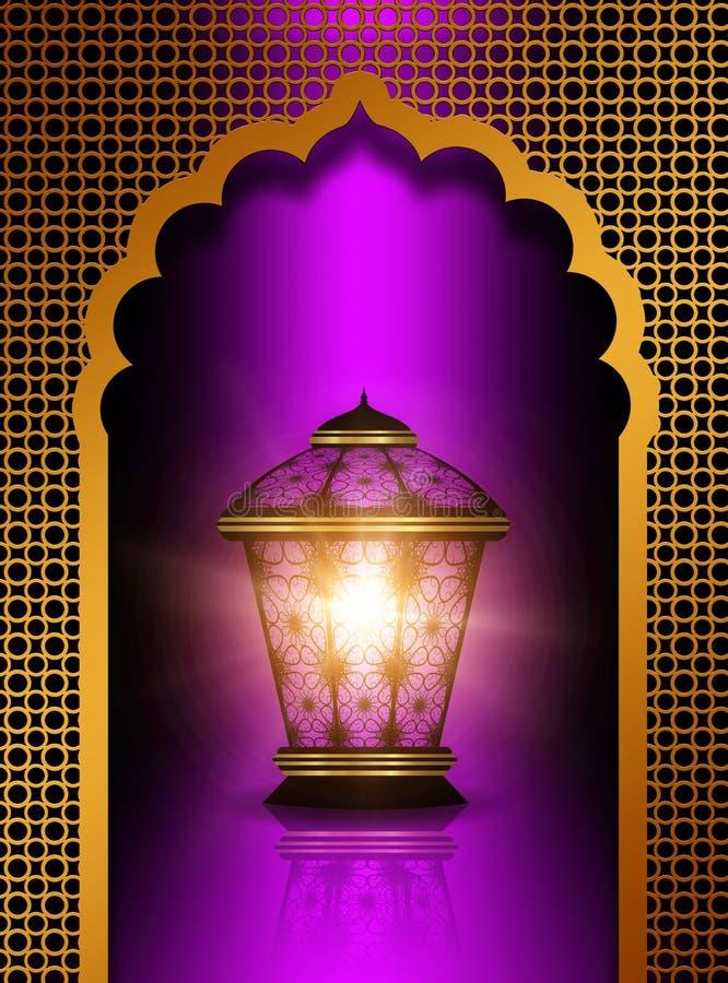 在紫罗兰色背景的发光的diwali灯笼 皇族释放例证