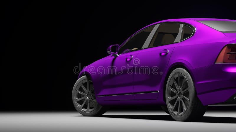 在紫罗兰色表面无光泽的镀铬物影片包裹的汽车 3d翻译 库存图片