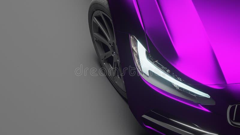 在紫罗兰色表面无光泽的镀铬物影片包裹的汽车 3d翻译 免版税库存照片
