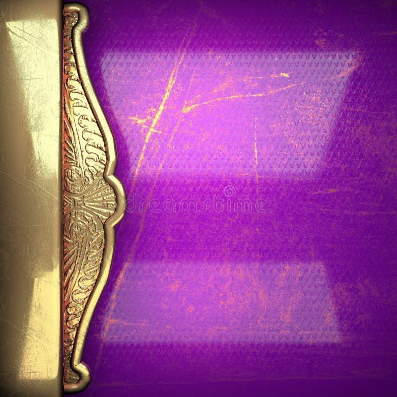 在紫罗兰绘的金黄背景 库存图片