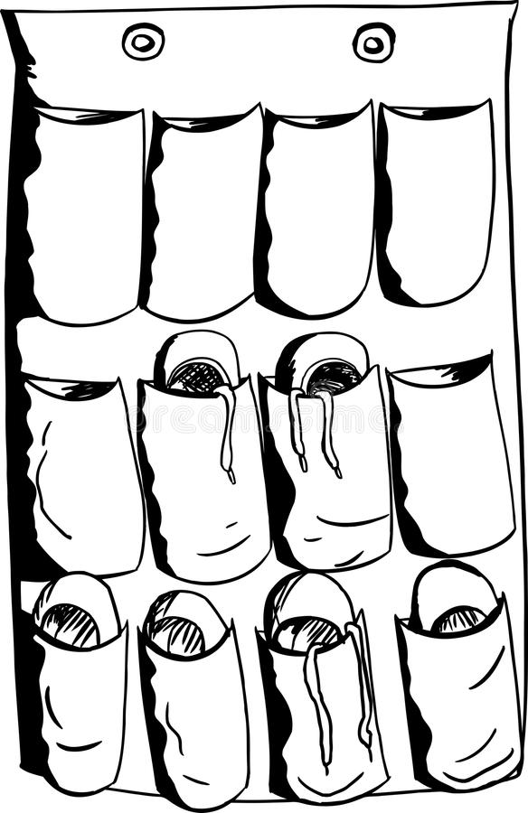 在组织者的各种各样的鞋子 向量例证