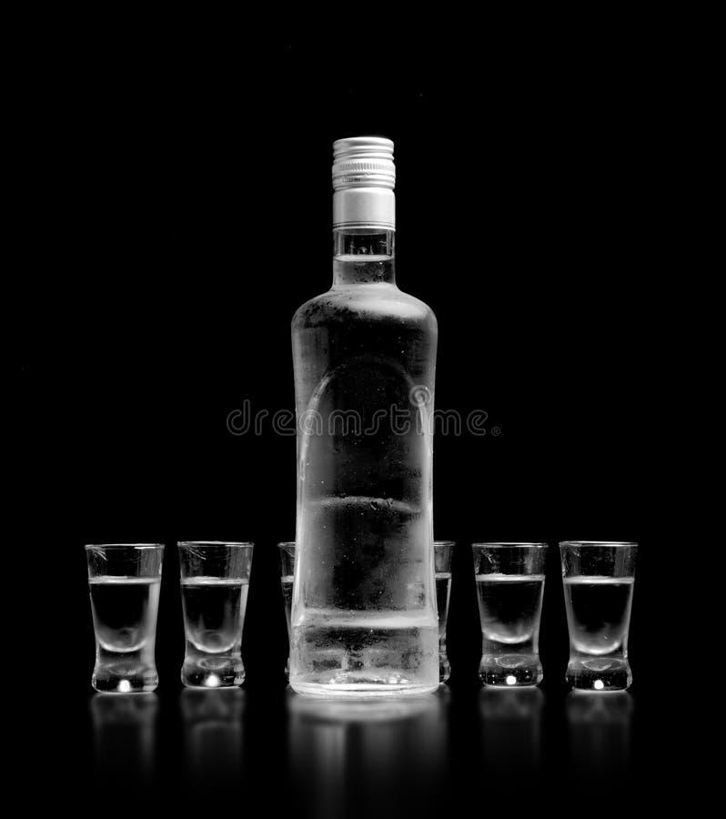 在黑背景和玻璃隔绝的伏特加酒身分瓶 免版税库存图片