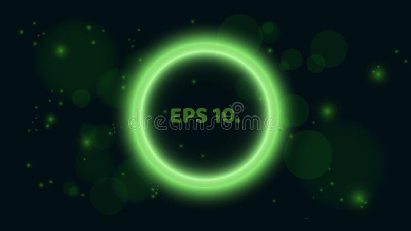 在黑背景的一副圆,发光的绿色横幅 以泡影的形式横幅 您的项目的一个地方 照亮 皇族释放例证