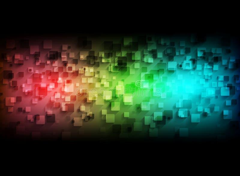 Download 在黑背景的五颜六色的技术正方形 向量例证. 插画 包括有 要素, 黑暗, 可弯的, 投反对票, 蓝绿色, 概念 - 62527664